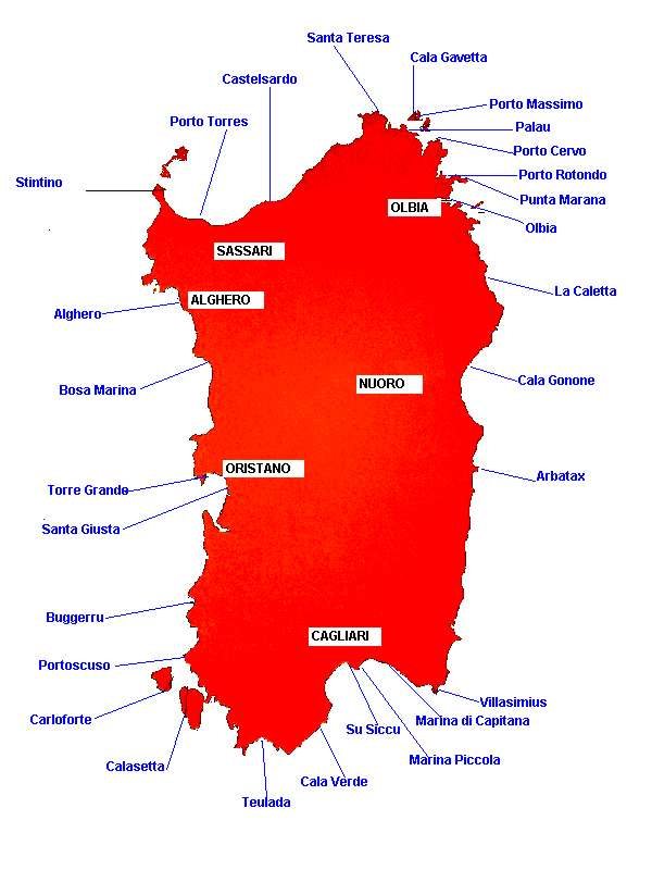Cartina Porti Sardegna.Mappa Dei Porti Turistici Della Sardegna